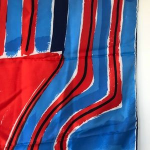 Vintage Accessories - Vintage Vera abstract red white blue square scarf